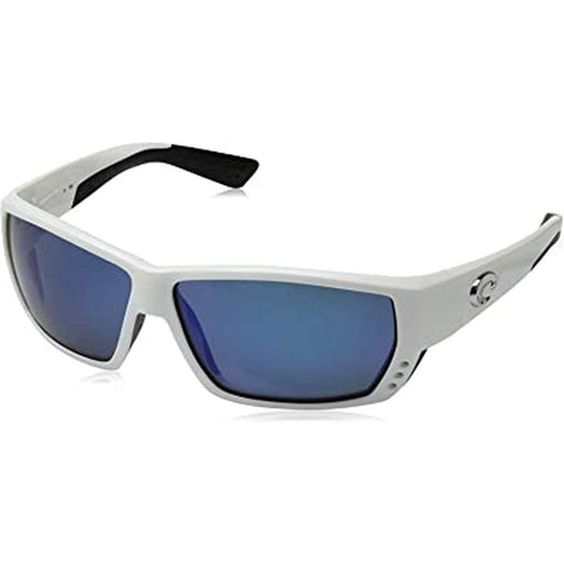 Costa Del Mar Mens Tuna Alley White Frame Grey Blue Mirror Polarized Lens Sunglasses - TA25OBMP - WatchCo.com