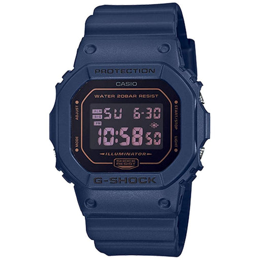 Casio Mens G-Shock Navy Blue Resin Band Black Digital Dial Quartz Watch - DW5600BBM-2 - WatchCo.com