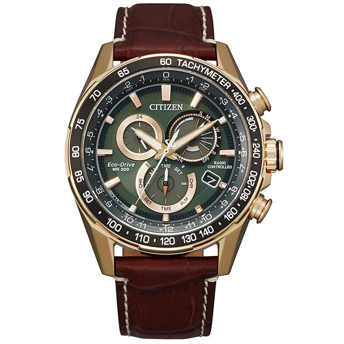 Citizen Mens Eco-Drive Brown Leather Strap Green Dial Chronograph Watch - CB5919-00X