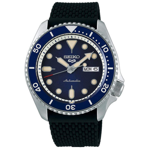 Seiko Mens Automatic 5 Sports Silicone Band Blue Dial Stainless Steel Watch - SRPD93 - WatchCo.com