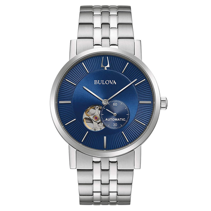 Bulova Mens Automatic Dial Blue Band Silver American Clipper Watch - 96A247