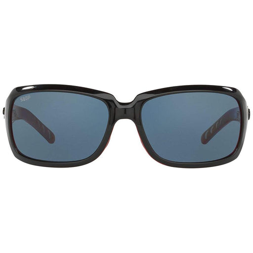 Costa Del Mar Womens Isabela Black Frame Gray Polarized Lens Rectangular Sunglasses - IB32OGP - WatchCo.com