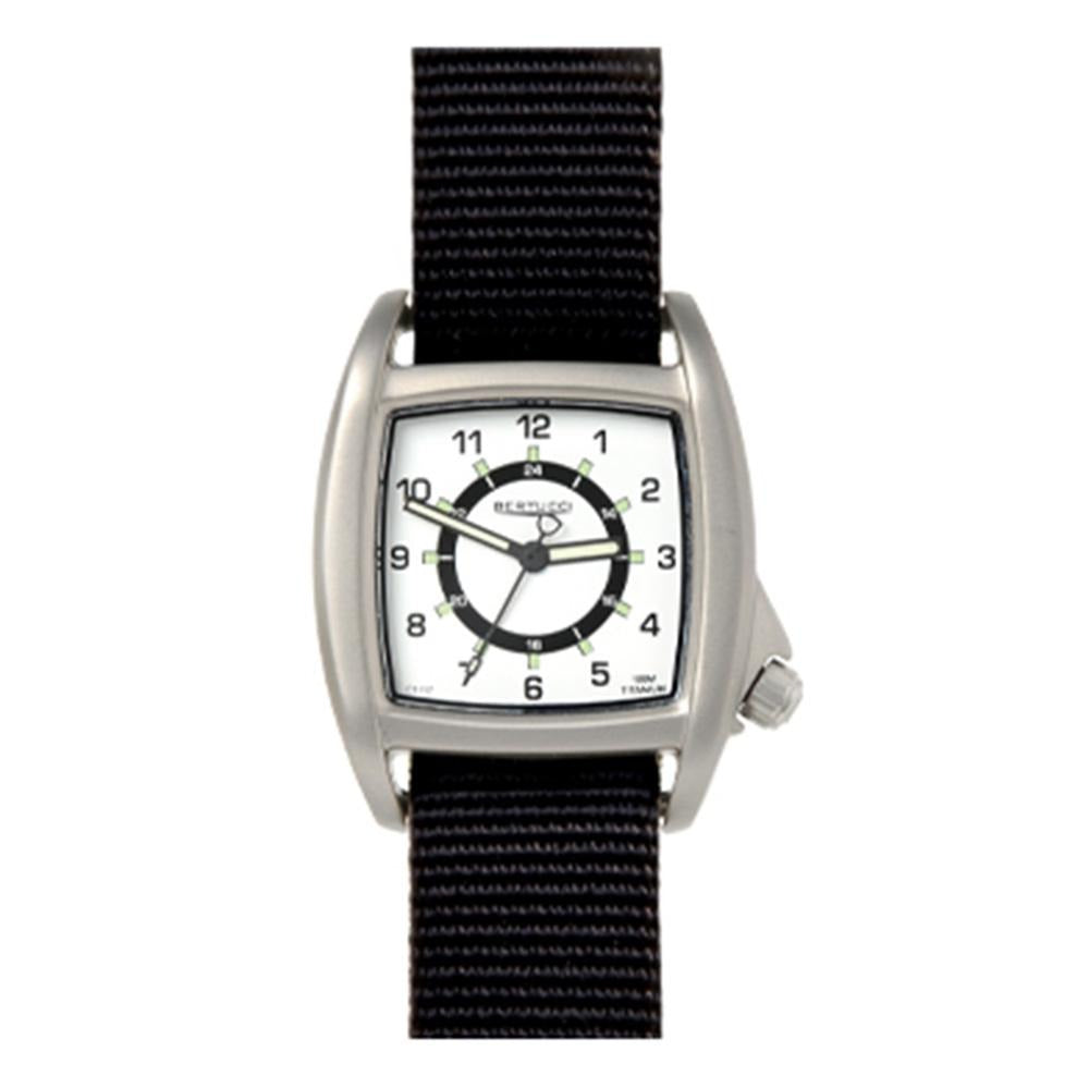 Bertucci Mens C-1T Lusso Field Black Nylon Strap White Analog Dial Quartz Watch - 16020