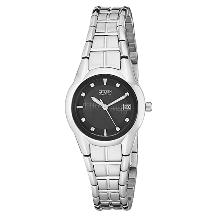 Citizen Womens Eco-Drive Black Dial Silver Band Stainless Steel Japanese Quartz Watch - EW1410-50E