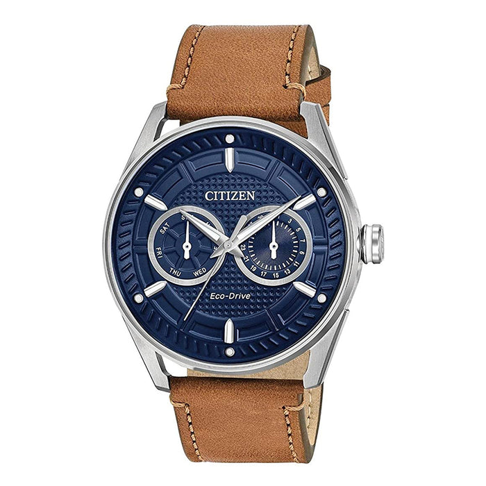 Citizen Mens Drive Blue Dial Stainless Steel Quartz Leather Calfskin Strap 22 Casual Watch - BU4020-01L