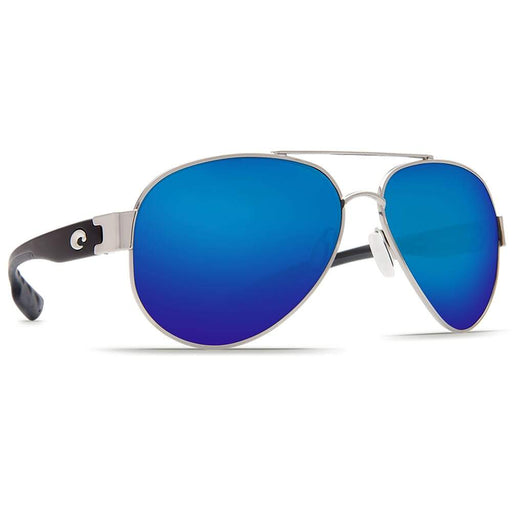 Costa Del Mar Mens South Point Palladium Silver Frame Blue Mirror Polarized Lens Sunglasses - SO21OBMGLP - WatchCo.com