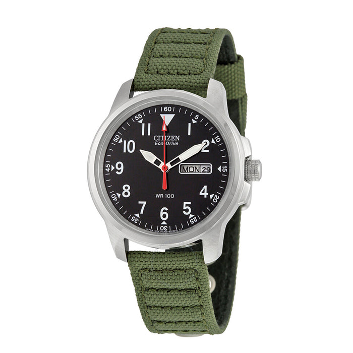 Citizen Eco-Drive Men's Stainless Watch - Green Canvas Strap - Black Dial - BM8180-03E