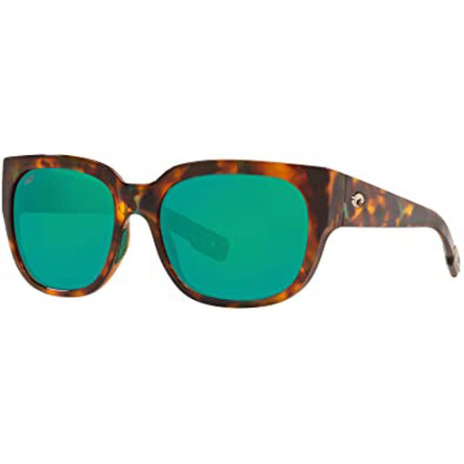 Costa Del Mar Womens Waterwoman Shiny Palm Tortoise Frame Green Mirror Polarized Lens Rectangular Sunglasses - WTW250OGMP - WatchCo.com