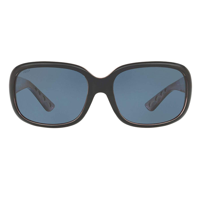 Costa Del Mar Womens Gannet Shiny Black Hibiscus Frame Grey Polarized-580p Sunglasses - GNT132OGP