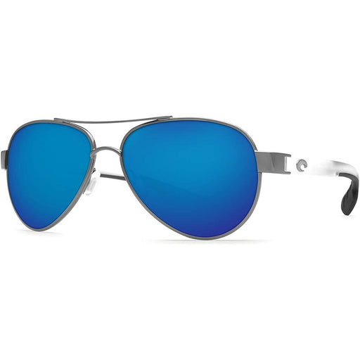 Costa Del Mar Womens Loreto Matte Grey Frame Blue Mirror Polarized Lens Aviator Sunglasses - LR278OCOBMGLP - WatchCo.com