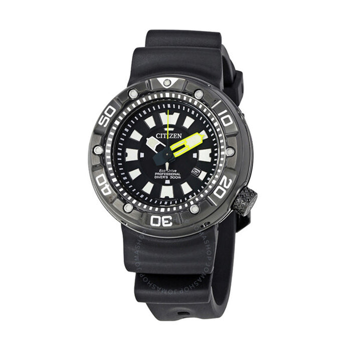 Citizen Mens Eco Drive Black Dial Stainless Steel Case Black Polyurethane Strap Round Watch - BN0175-19E