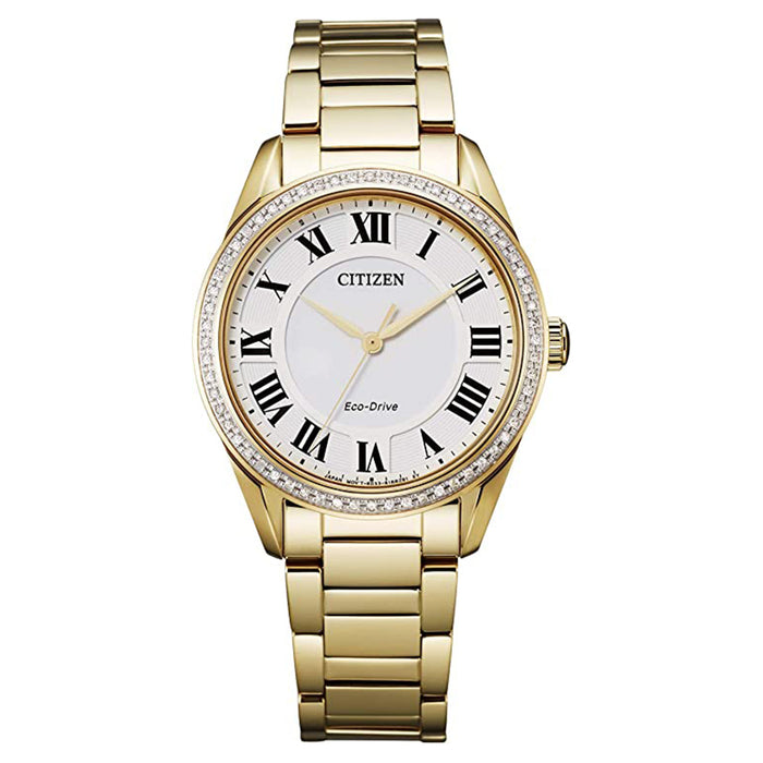 Citizen Womens Eco Drive Arezzo White Dial Stainless Steel Gold-Tone Watch - EM0882-59A