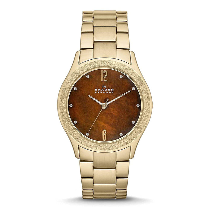 Skagen Womens Crystals Brown Dial Gold Stainless Steel Watch - SKW2108
