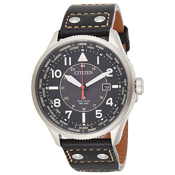 Citizen Mens Promaster Nighthawk Black Dial Leather Band Watch - BX1010-02E
