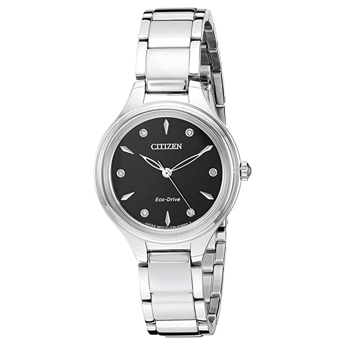 Citizen Womens Eco-Drive Black Dial Silver Band Stainless Steel Quartz Watch - FE2100-53E