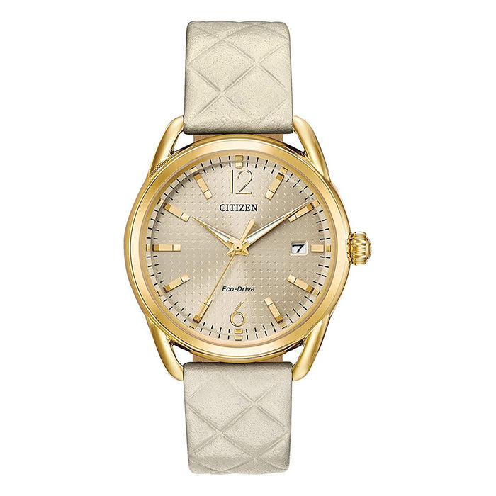Citizen Womens 'Drive' Quartz Beige Dial Stainless Steel White Leather Band Casual Watch - FE6082-08P