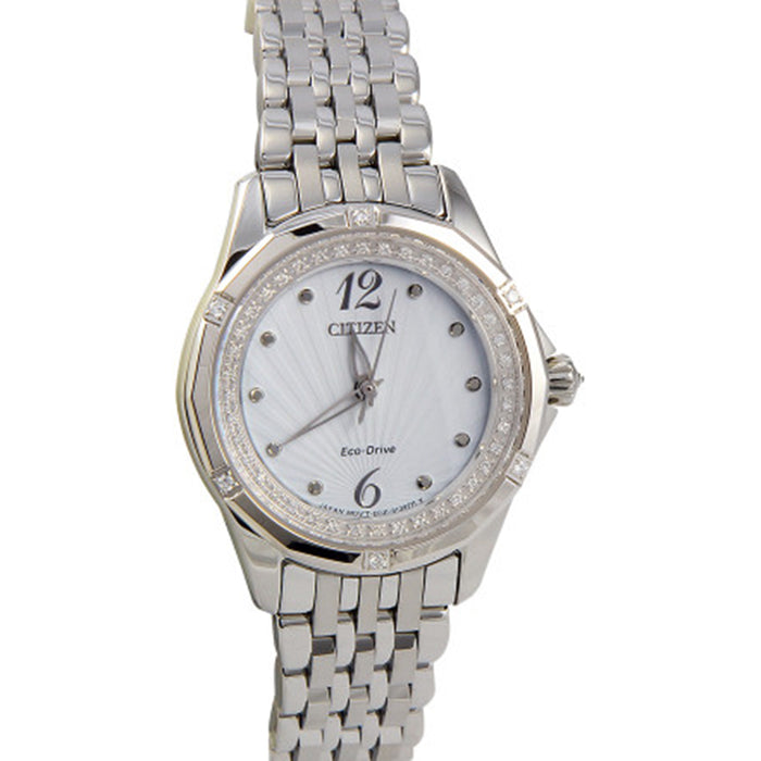 Citizen Eco-Drive Womens Diamond-Accent Stainless Steel Case and Bracelet White Dial Silver Watch - EM0370-51A
