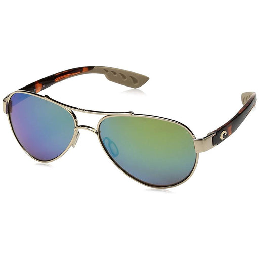 Costa Del Mar Womens Loreto Rose Gold Frame Green Mirror Polarized Lens Aviator Sunglasses - LR64OGMGLP - WatchCo.com