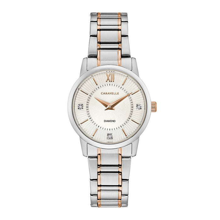Caravelle Womens Two-Tone Stainless Steel Bracelet Band Silver Quartz Dial Watch - 45P110