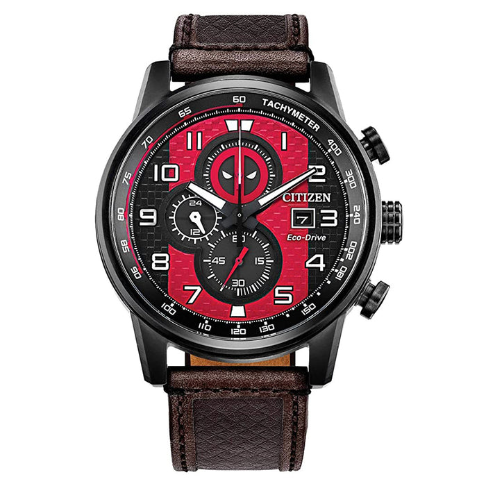 Citizen Mens Deadpool Marvel Eco-drive Red Dial Brown Leather Band Watch -  CA0688-04W
