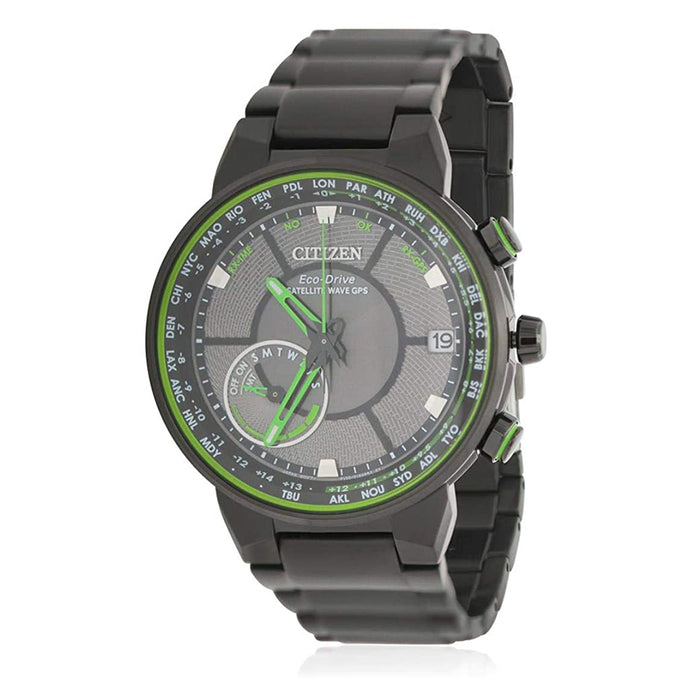 Citizen Mens Eco-Drive Satellite Wave GPS Green Dial Black Band Stainless Steel Chronograph watch - CC3035-50E