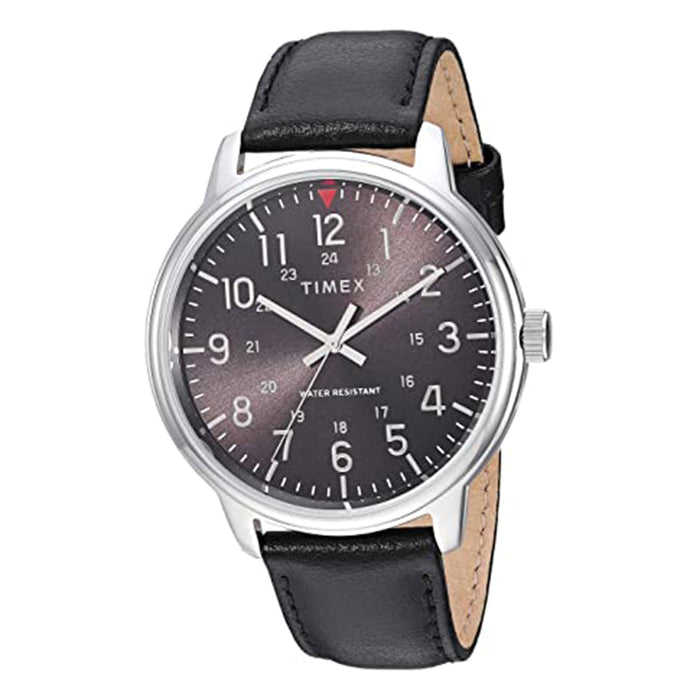 Timex Mens Classic 43mm Black Dial Silver-Tone Leather Strap Watch - TW2R85500