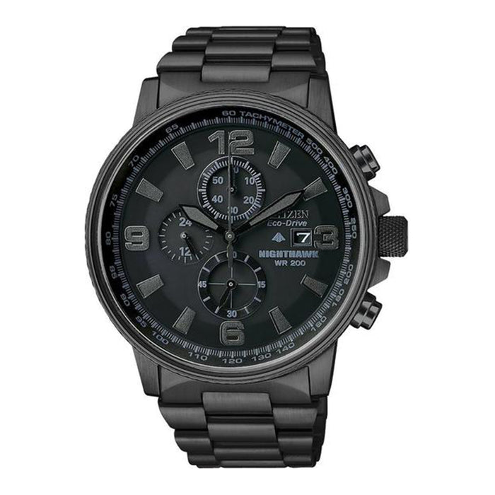 Citizen Mens Eco-Drive Nighthawk Chronograph  Watch - Black Bracelet - Black Dial - CA0295-58E