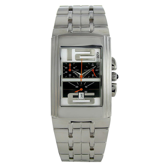 Chronotech Mens Highway Stainless Watch - Silver Bracelet - Black Dial - CHTCT.7018B/03M