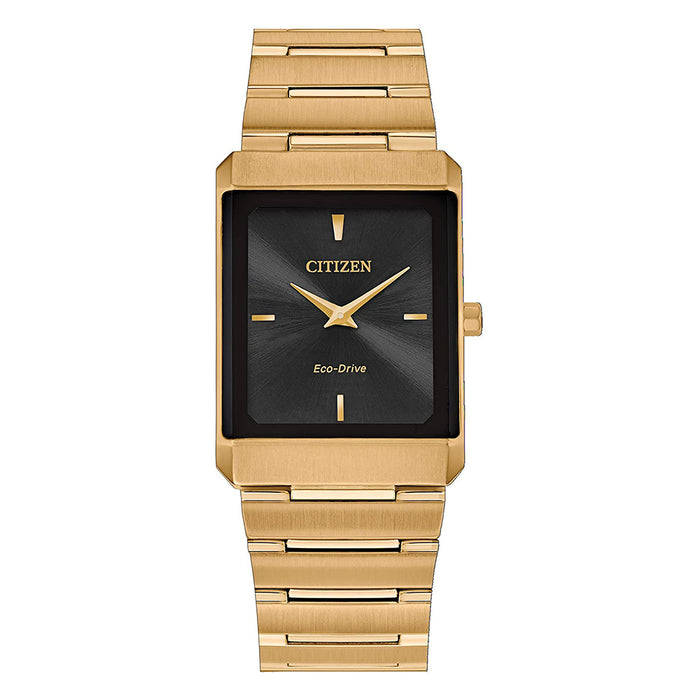 Citizen Unisex Stiletto Black Dial Yellow Gold Bracelet Watch - EG6012-59E