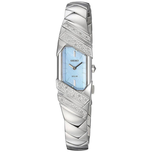 Seiko Womens Tressia Stainless Steel Bracelet Pearl Blue Dial Solar Quartz Watch - SUP331 - WatchCo.com