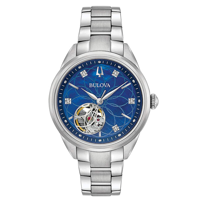 Bulova Womens Diamonds Automatic Blue Dial Silver Stainless Steel Band Watch - 96P191