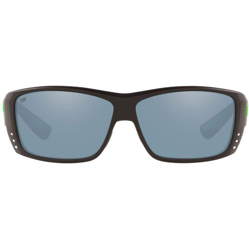 Costa Del Mar Mens Cat Cay Matte Black Green Logo Frame Gray Silver Mirror Polarized Lens Sunglasses - AT200OSGP - WatchCo.com