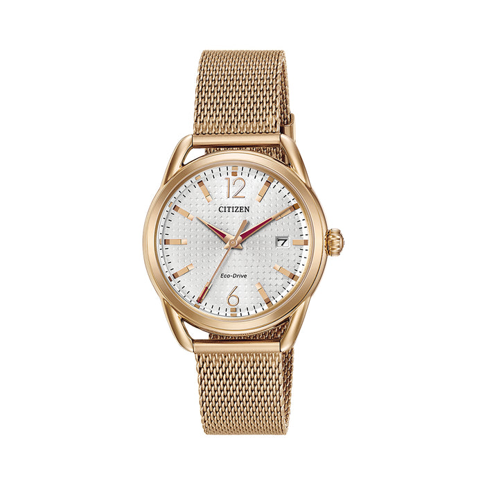 Citizen Eco Drive Womens Rose Gold Stainless Steel Case White Dial Mesh Bracelet Watch - FE6083-72A