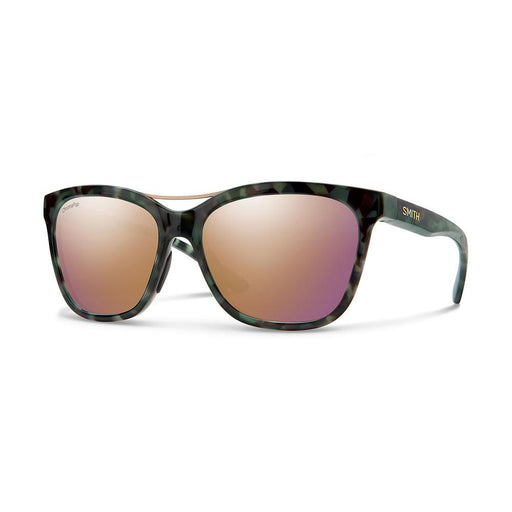 Smith Womens Cavalier Camo Tortoise Frame Rose Gold Polarized Lens Square Sunglasses - 201928PHW569V - WatchCo.com