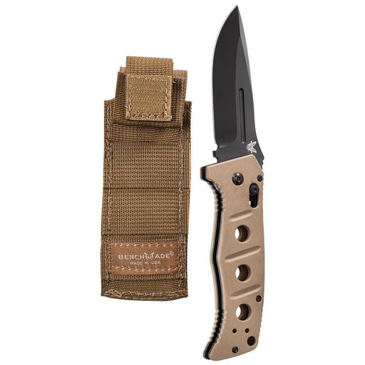 Benchmade Adamas AUTO Black D2 Plain Blade Tan G10 Handles Folding 3.82 Knife - BM-2750BKSN - WatchCo.com