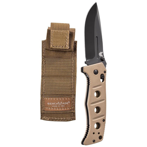 Benchmade Adamas Black D2 Plain Blade Tan G10 Handles Folding 3.82 Knife - BM-275BKSN - WatchCo.com