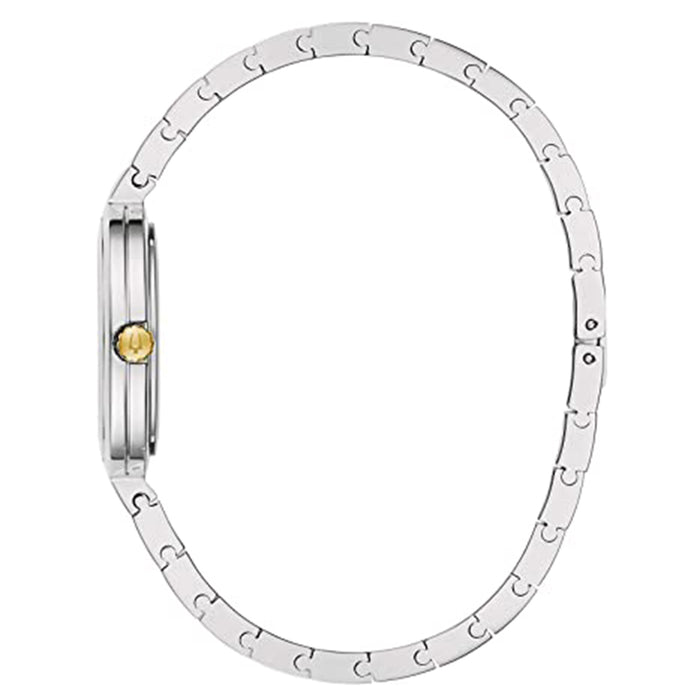Bulova Womens Rhapsody Diamond 2 Tone Yellow Silver Stainless Steel Strap Watch - 98P193