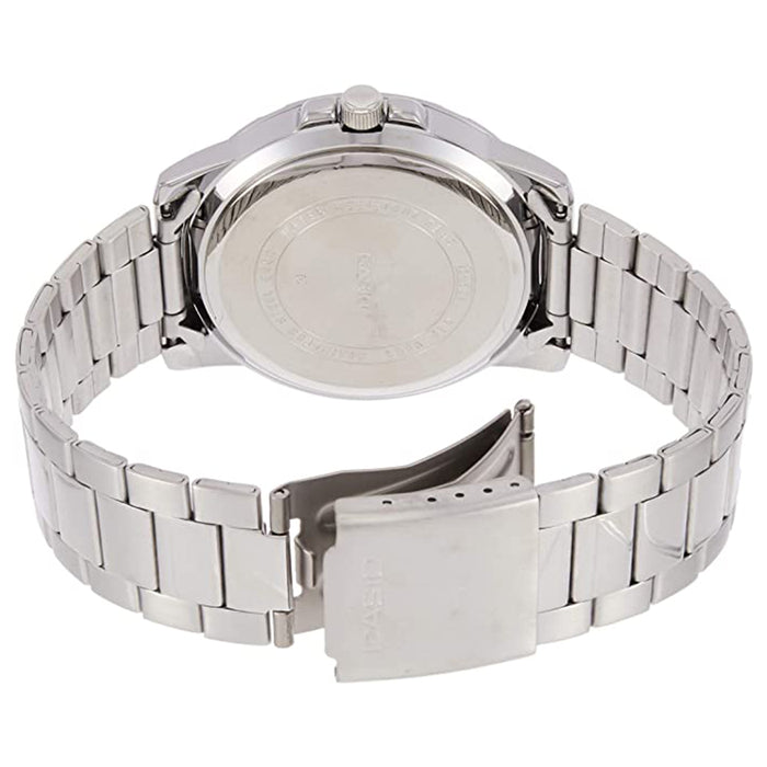 Casio Mens Enticer Stainless Steel White Dial Silver Band Casual Analog Sporty Watch - MTP-VD01D-7EVUDF