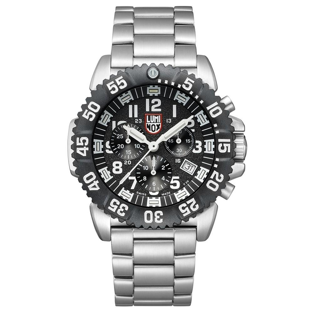 Luminox Navy Seal Steel Colormark Chronograph 3180 Silver Stainless Steel Band Black Dial Quartz Analog Watch - XS.3182.L