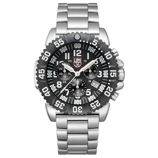 Luminox Navy Seal Steel Colormark Chronograph 3180 Silver Stainless Steel Band Black Dial Quartz Analog Watch - XS.3182.L - WatchCo.com