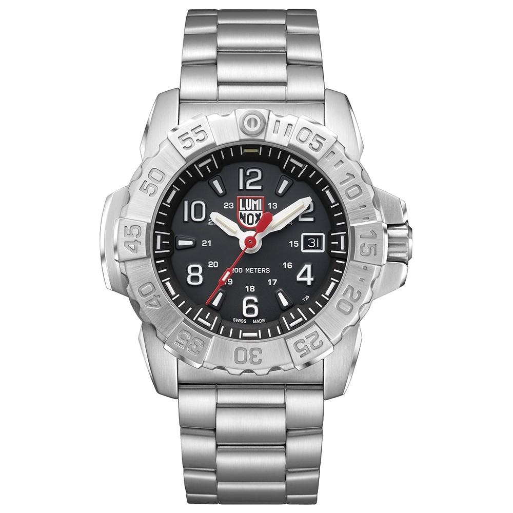 Luminox Men's Navy Seal Steel 3250 Silver Stainless Steel Band Black Dial Quartz Analog Watch - XS.3252.L
