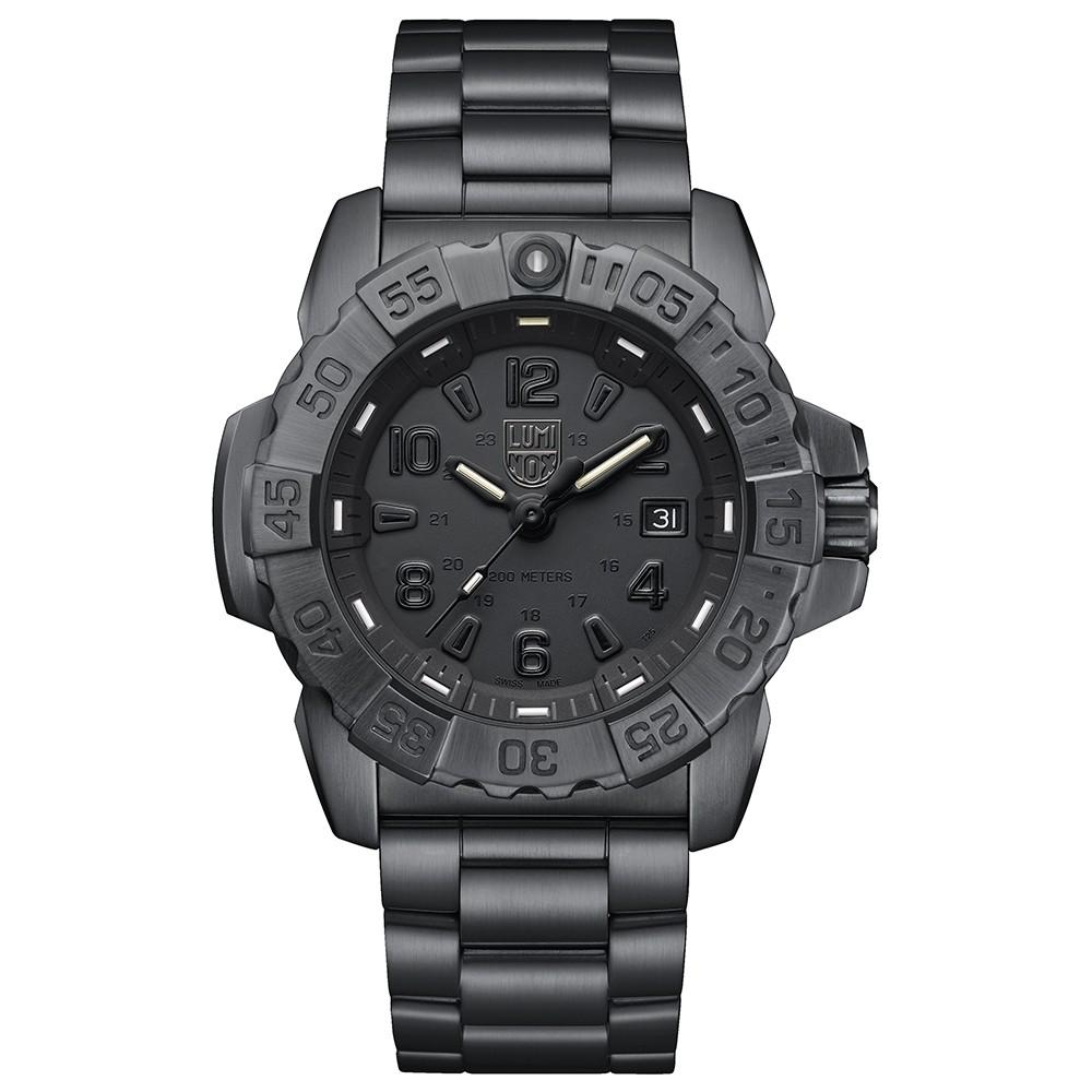 Luminox Men's Navy Seal Steel 3250 Black Stainless Steel Band Black Dial Quartz Analog Watch - XS.3252.BO.L