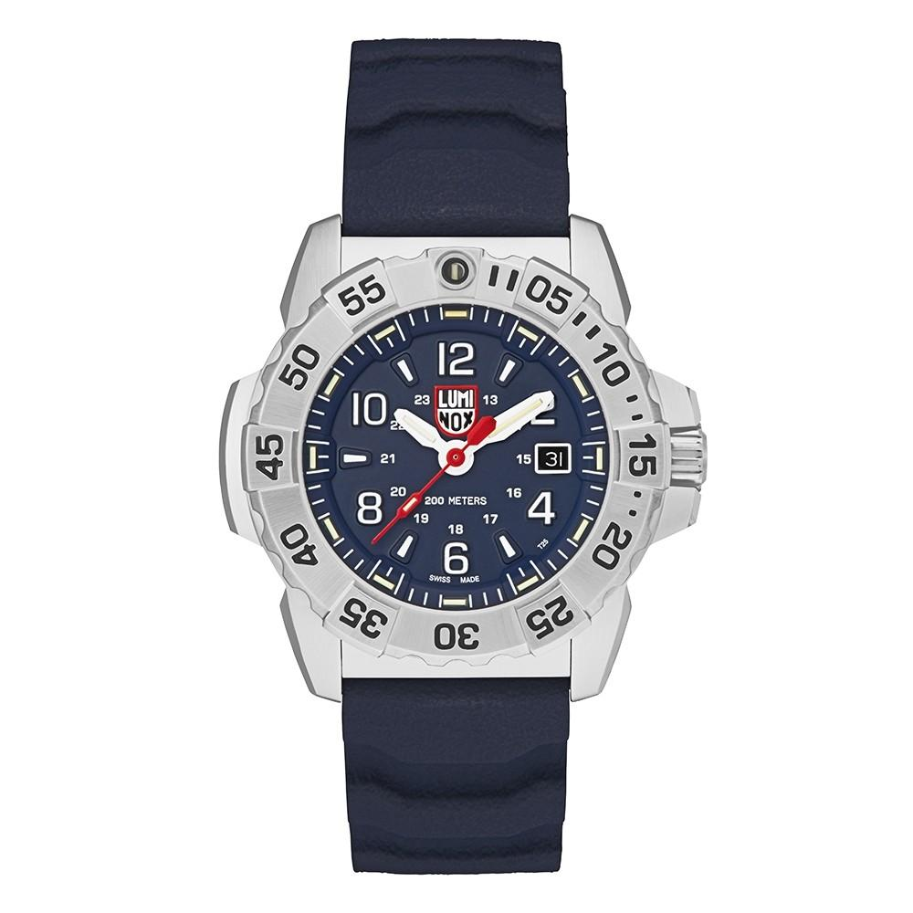 Luminox Men's Navy Seal Steel 3250 Blue Rubber Band Blue Dial Quartz Analog Watch - XS.3253
