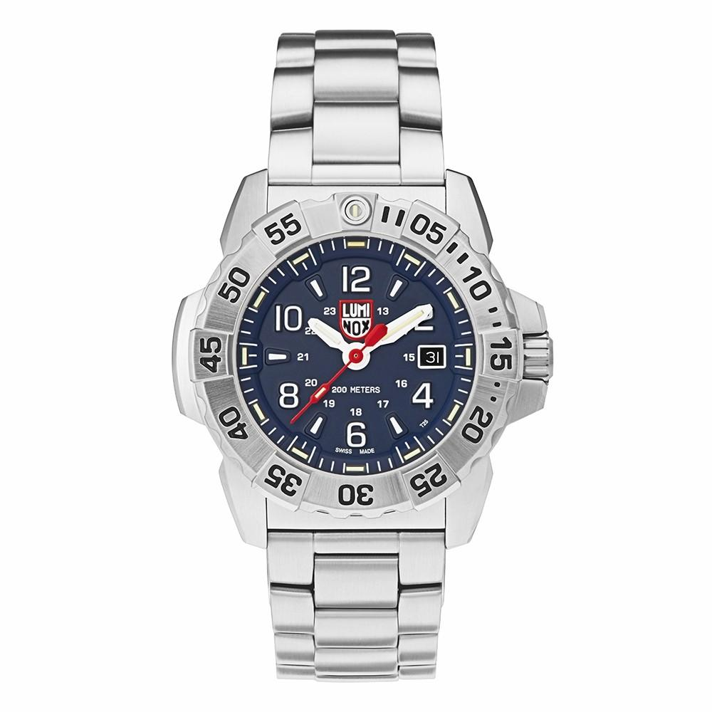 Luminox Men's Navy Seal Steel 3250 Silver Stainless Steel Band Blue Dial Quartz Analog Watch - XS.3254