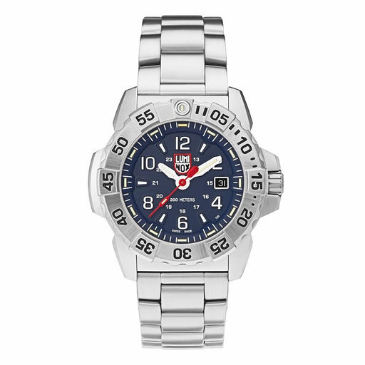 Luminox Men's Navy Seal Steel 3250 Silver Stainless Steel Band Blue Dial Quartz Analog Watch - XS.3254 - WatchCo.com
