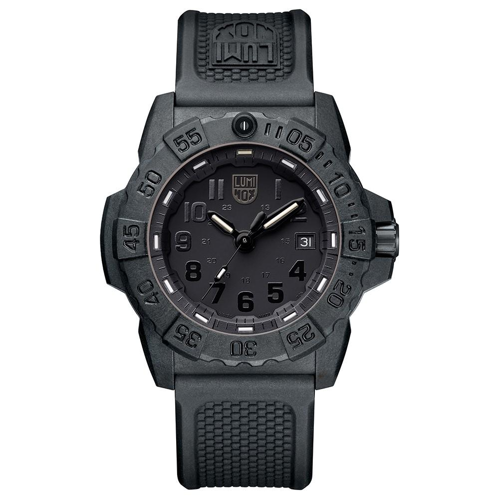 Luminox Men's Navy Seal 3500 Series Black Rubber Band Black Dial Quartz Analog Watch - XS.3501.BO
