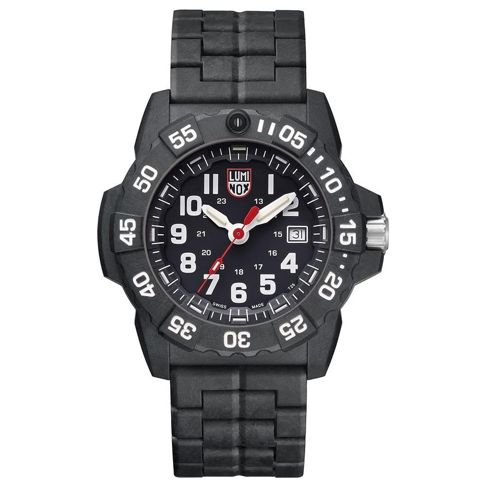 Luminox Men's Navy Seal 3500 Series Black Carbon Bracelet Black Dial Quartz Analog Watch - XS.3502.L
