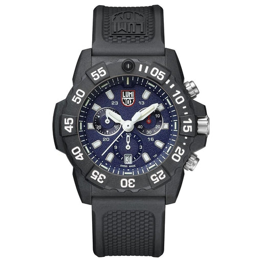 Luminox Men's Navy Seal Chronograph 3580 Series Black Rubber Band Blue Dial Quartz Analog Watch - XS.3583 - WatchCo.com