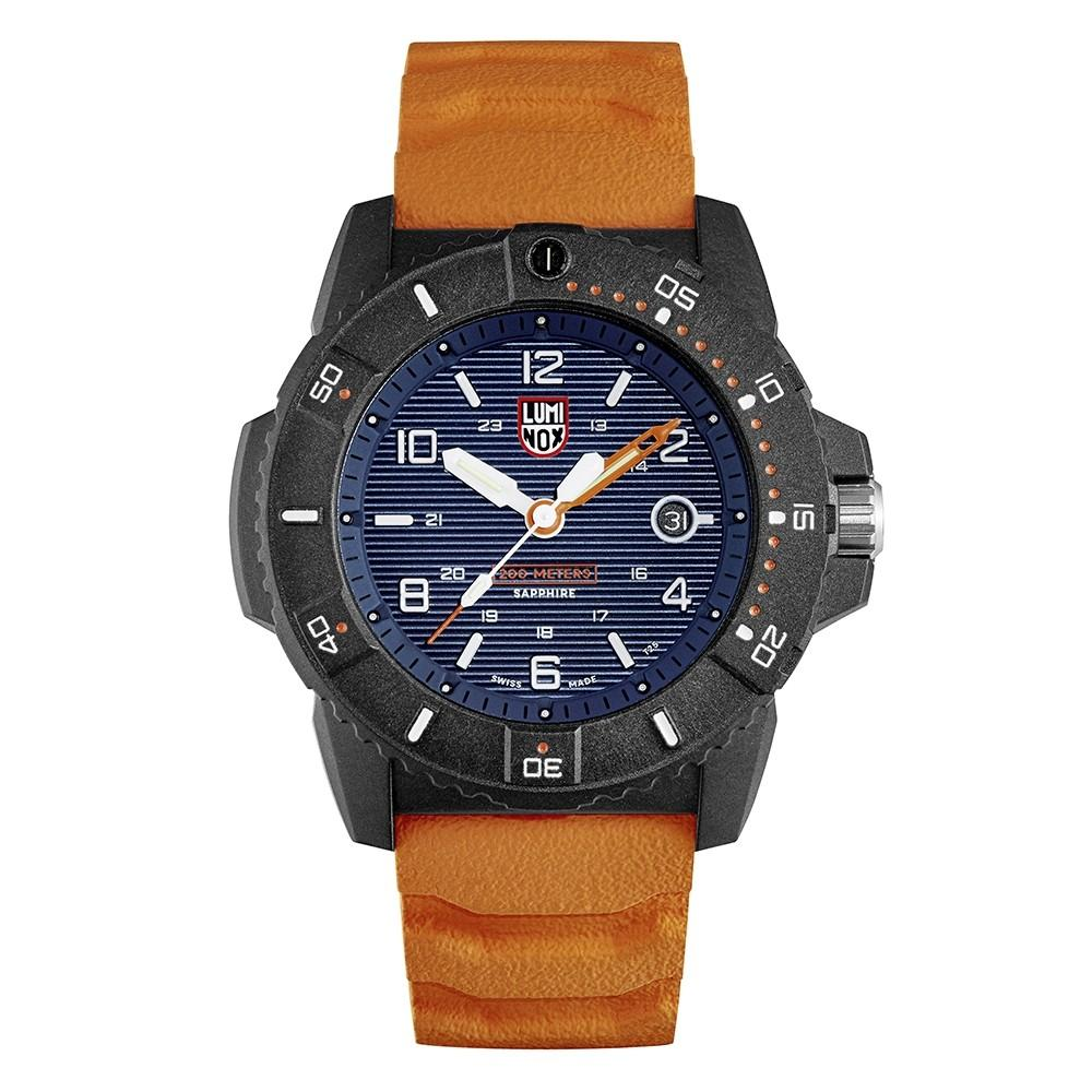 Luminox Men's Navy Seal 3600 Series Orange Rubber Band Navy Blue Dial Quartz Analog Watch - XS.3603