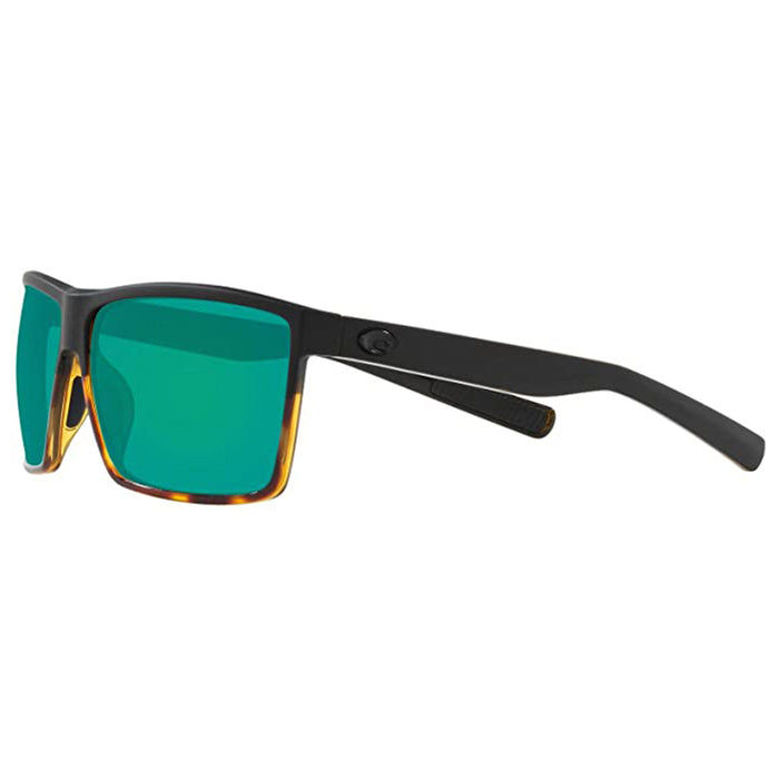 Costa Del Mar Mens Rincon Rectangular Matte Black Green Mirrored Polarized Sunglasses - RIN181OGMGLP